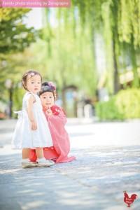 姊姊妹妹京都七五三祇園拍攝家庭記念照