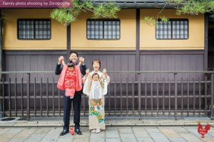 與爸爸媽媽京都七五三家庭記念照