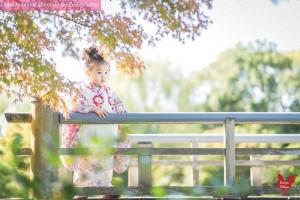 於京都秋天拍攝傳統七五三家庭記念照