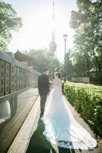 東京鐵塔下的婚紗照